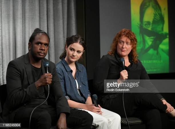 Baykali Ganambarr Aisling Franciosi and Jennifer Kent speak onstage at SAGAFTRA Foundation Conversations with The Nightingale at SAGAFTRA Foundation...