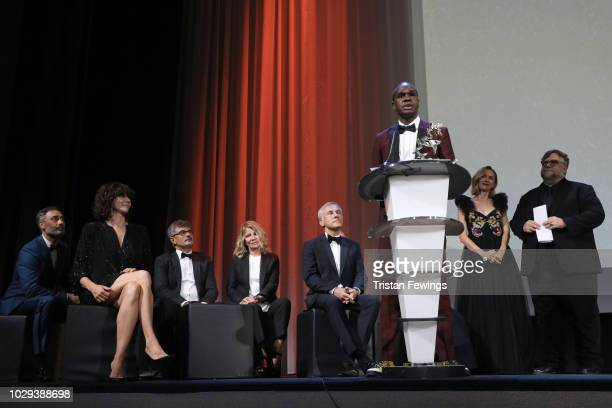 Baykali Ganambarr receives the 'Marcello Mastroianni' Award for Best New Young Actor or Actress for 'The Nightingale' at the Award Ceremony during...