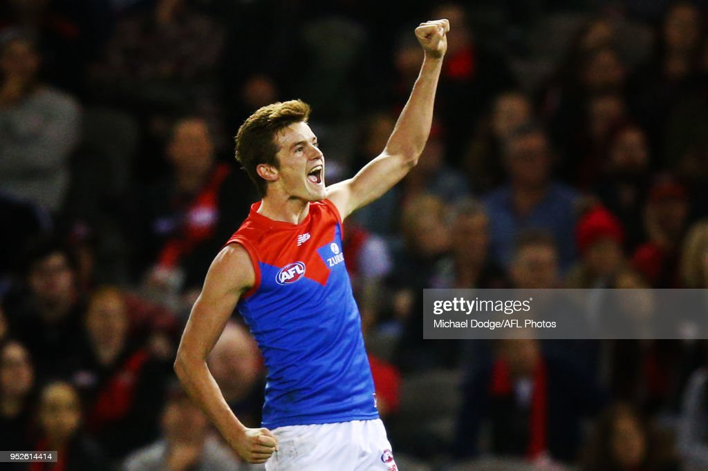 Bayley Fritsch of the Demons celebrates a goal during the round 6 AFL match between the Essendon Bombers and Melbourne Demons at Etihad Stadium on April 29, 2018 in Melbourne, Australia.
