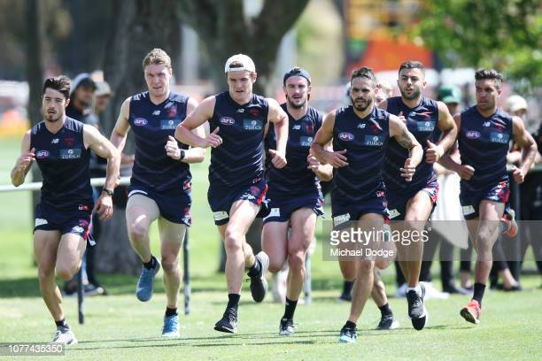 Bayley Fritsch of the Demons leads a sprint during a Melbourne Demons AFL training session at Gosch's Paddock on December 05 2018 in Melbourne...