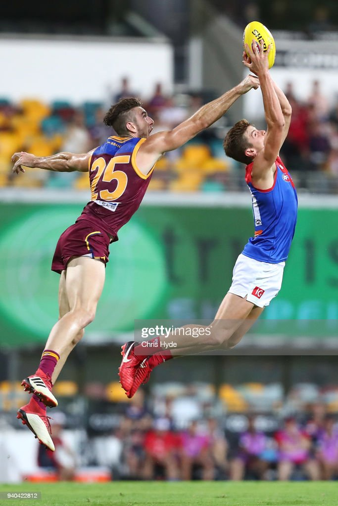 Bayley Fritsch of the Demons takes a mark during the round two AFL match between the Brisbane Lions and the Melbourne Demons at The Gabba on March 31, 2018 in Brisbane, Australia.