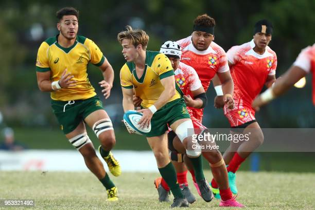 Bayley Kuenzle of Australia passes during the 2018 Oceania Rugby U20 Championship match between Australia and Tonga at Bond University on May 1 2018...