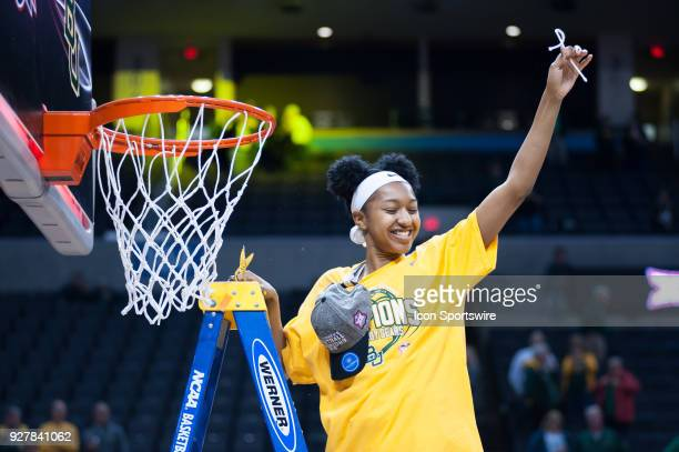 Baylor Alexis Morris cutting the net after the win versus Texas during the Big 12 Women's Championship on March 05 2018 at Chesapeake Energy Arena in...