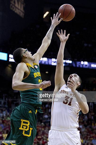 Baylor Bears center Isaiah Austin tries to block a shot by Iowa State Cyclones forward Georges Niang during the Big 12 Basketball Tournament...