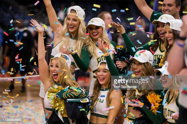 Baylor Bears cheerleaders celebrate after Baylor wins the NCAA Division I Women's National Championship Game against the Notre Dame Fighting Irish on...