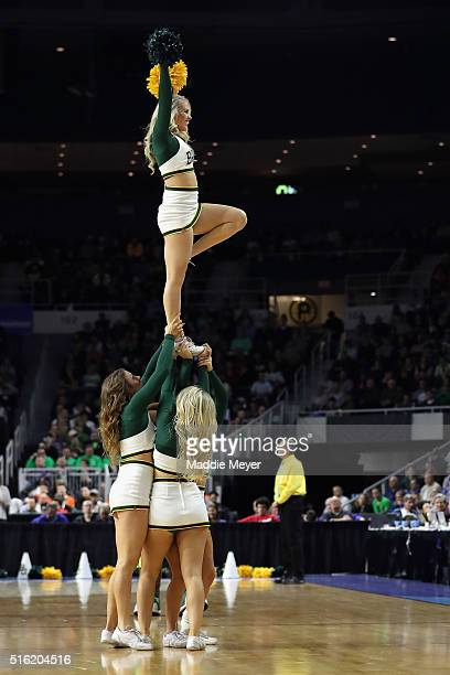 Baylor Bears cheerleaders perform during the game between the Yale Bulldogs and the Baylor Bears in the first round of the 2016 NCAA Men's Basketball...