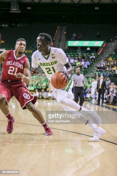 Baylor Bears forward Nuni Omot goes to the basket during the men's basketball game between Baylor and Oklahoma on February 21 2017 at the Ferrell...