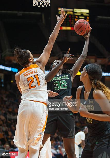 Baylor Bears forward/center Beatrice Mompremier takes a shot over Tennessee Lady Volunteers center Mercedes Russell during a game between the Baylor...