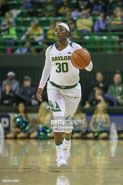 Baylor Bears guard Alexis Jones brings the ball up the court during the NCAA women's basketball between Baylor and Iowa State on January 18 at the...