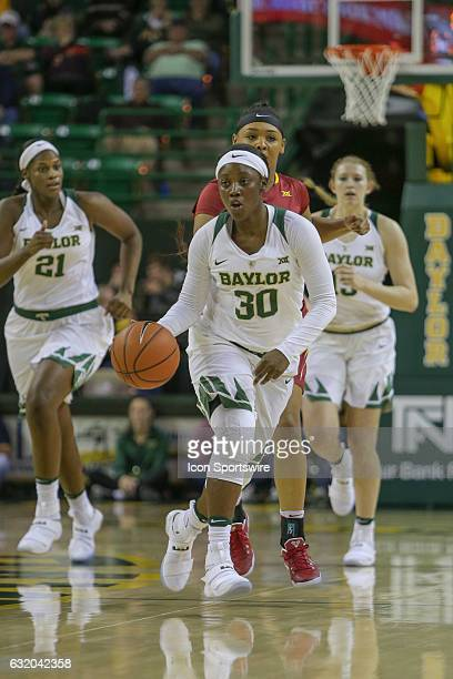 Baylor Bears guard Alexis Jones comes up the court during the NCAA women's basketball between Baylor and Iowa State on January 18 at the Ferrell...