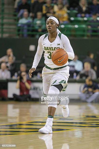 Baylor Bears guard Alexis Jones dribbles up the court during the NCAA women's basketball between Baylor and Iowa State on January 18 at the Ferrell...