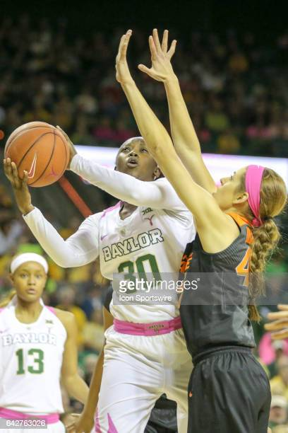 Baylor Bears guard Alexis Jones goes to the basket during the women's basketball game between Baylor and Oklahoma State on February 18 at the Ferrell...