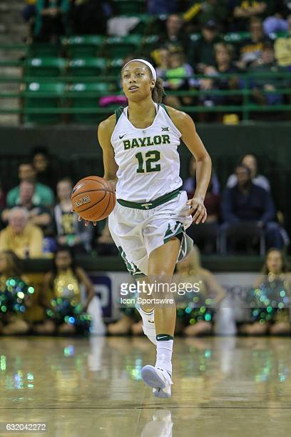 Baylor Bears guard Alexis Prince dribbles up the court during the NCAA women's basketball between Baylor and Iowa State on January 18 at the Ferrell...
