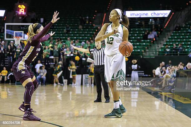 Baylor Bears guard Alexis Prince looks to pass during the NCAA women's basketball between Baylor and Texas State on December 6 at the Ferrell Center...
