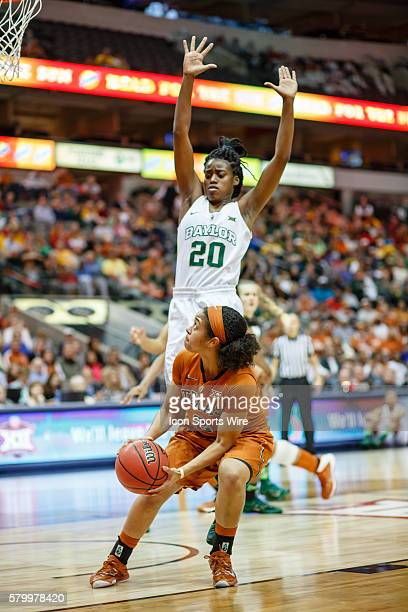Baylor Bears guard Imani Wright leaps to defend Texas Longhorns guard Celina Rodrigo during the NCAA Big 12 Women's basketball championship game...