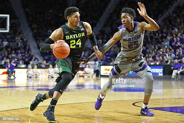 Baylor Bears guard Ishmail Wainright drives against Kansas State Wildcats forward Wesley Iwundu in the second half of a Big 12 basketball matchup...