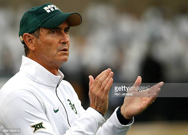Baylor Bears head coach Art Briles applauds his team as the Bears take on the Iowa State Cyclones in the second half at McLane Stadium on October 24,...