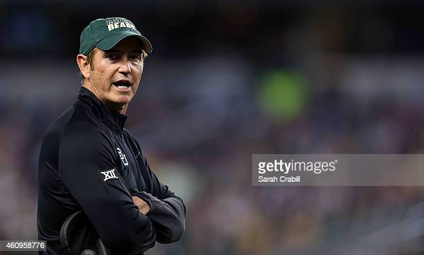 Baylor Bears head coach Art Briles looks from the sideline against the Michigan State Spartans during the first half of the Goodyear Cotton Bowl...