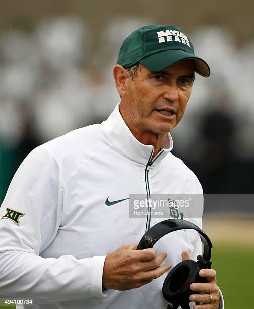 Baylor Bears head coach Art Briles walks the sidelines as the Bears take on the Iowa State Cyclones in the second half at McLane Stadium on October...