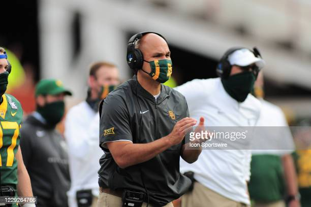 Baylor Bears head coach Dave Aranda applauds a play during game featuring the Baylor Bears and the Texas Longhorns on October 24 at Darrell K...