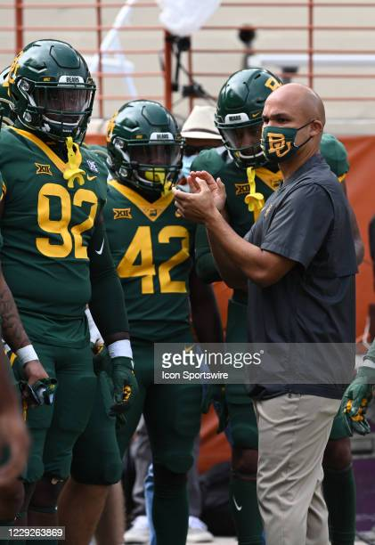 Baylor Bears head coach Dave Aranda gets ready to lead the team onfield prior to game featuring the Baylor Bears and the Texas Longhorns on October...