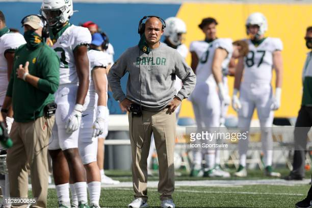 Baylor Bears head coach Dave Aranda on the field during the third quarter of the college football game between the Baylor Bears and the West Virginia...
