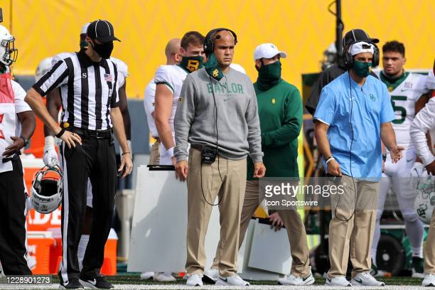 Baylor Bears head coach Dave Aranda on the sideline during the fourth quarter of the college football game between the Baylor Bears and the West...