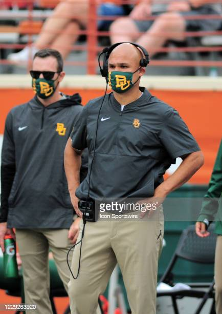 Baylor Bears head coach Dave Aranda watches action during game featuring the Baylor Bears and the Texas Longhorns on October 24 at Darrell K...