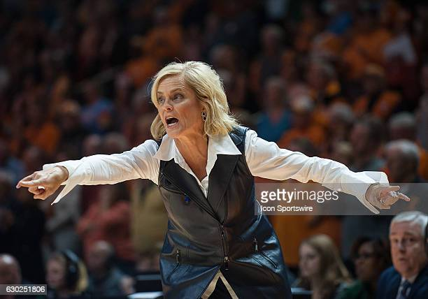 Baylor Bears head coach Kim Mulkey giving her team instructions during a game between the Baylor Lady Bears and Tennessee Lady Volunteers on December...