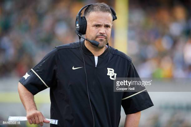 Baylor Bears head coach Matt Rhule looks on against the Liberty Flames during a football game at McLane Stadium on September 2 2017 in Waco Texas