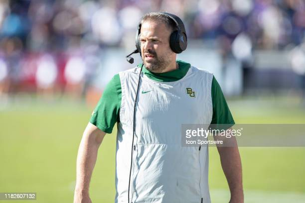 Baylor Bears head coach Matt Rhule looks on from the sideline during the Big 12 conference college football game between the Baylor Bears and TCU...