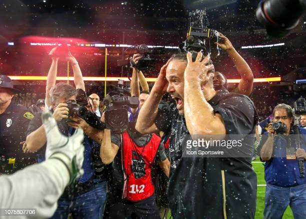 Baylor Bears head coach Matt Rhule reacts after getting doused with ice during the Texas Bowl football game between the Baylor Bears and Vanderbilt...