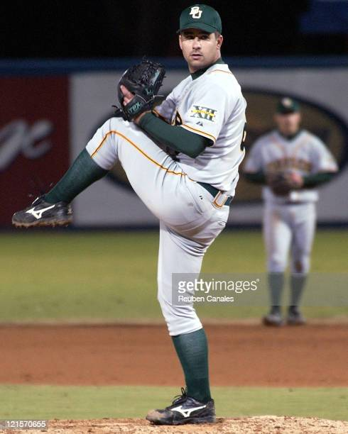 Baylor Bears pitcher Ryan LaMotta throws from the mound as the Bears were defeated by the Long Beach State Dirtbags 4 to 3 on March 3 2006 at Blair...