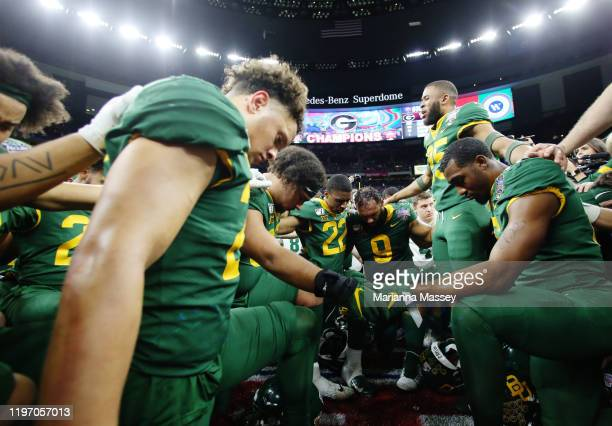 Baylor Bears react after losing 26-14 to the Georgia Bulldogs during the Allstate Sugar Bowl at Mercedes Benz Superdome on January 01, 2020 in New...