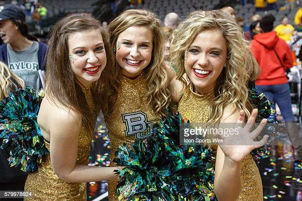 Baylor Bears Songleaders celebrate after the NCAA Big 12 Women's basketball championship game between the Baylor Bears and the Texas Longhorns at the...