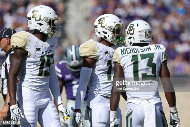 Baylor Bears wide receivers Tony Nicholson Denzel Mims and Baylor Bears wide receiver RJ Sneed in the first half of a Big 12 game between the Baylor...