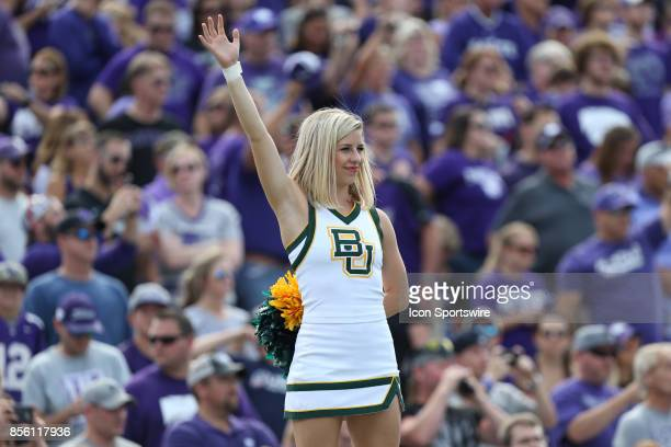 Baylor cheerleader before a Big 12 game between the Baylor Bears and Kansas State Wildcats on September 30 2017 at Bill Snyder Family Football...