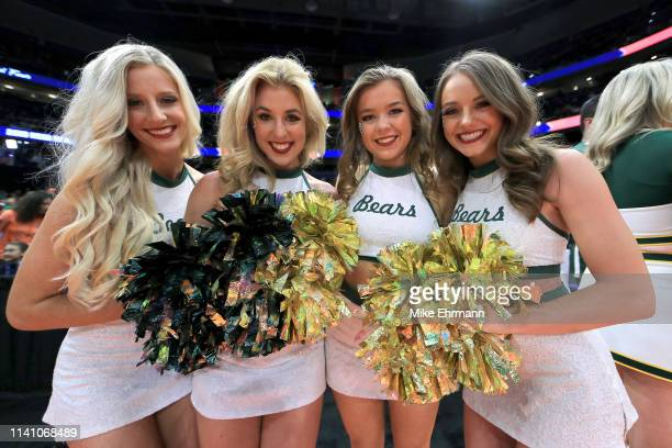 Baylor cheerleaders pose for a photo prior to the championship game of the 2019 NCAA Women's Final Four between the Baylor Lady Bears and the Notre...