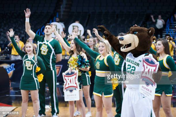 Baylor cheerleaders singing the alma mater after the game versus Texas during the Big 12 Women's Championship on March 05 2018 at Chesapeake Energy...