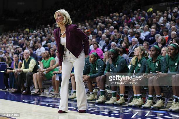 Baylor Head coach Kim Mulkey on the sideline during her sides loss during the UConn Huskies Vs Baylor Bears NCAA Women's Basketball game at Gampel...