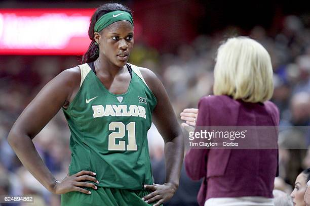 Baylor Head coach Kim Mulkey on the sideline talking with Kalani Brown of the Baylor Bears during her sides loss during the UConn Huskies Vs Baylor...
