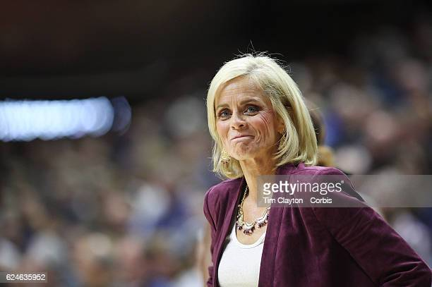 Baylor Head coach Kim Mulkey reacts on the sideline during her sides loss during the UConn Huskies Vs Baylor Bears NCAA Women's Basketball game at...