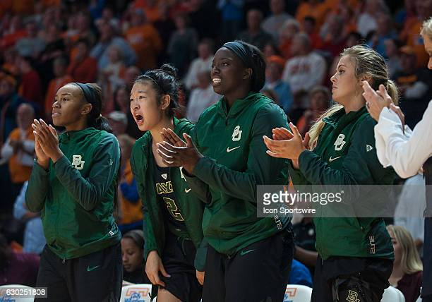 Baylor Lady Bears bench cheering during a game between the Baylor Lady Bears and Tennessee Lady Volunteers on December 4 at ThompsonBoling Arena in...