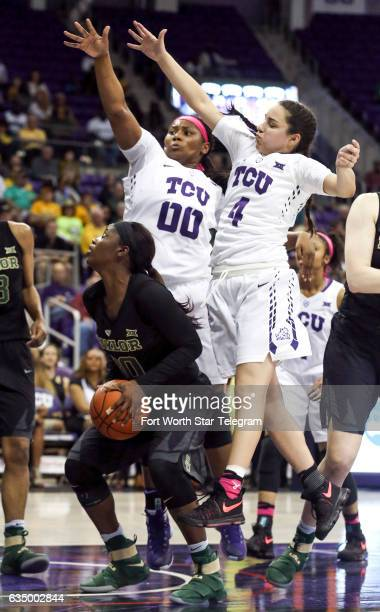 Baylor's Alexis Jones looks for an opening as TCU Amy Okonkwo and Amber Ramirez on Sunday Feb 12 2017 at Schollmaier Arena in Fort Worth Texas