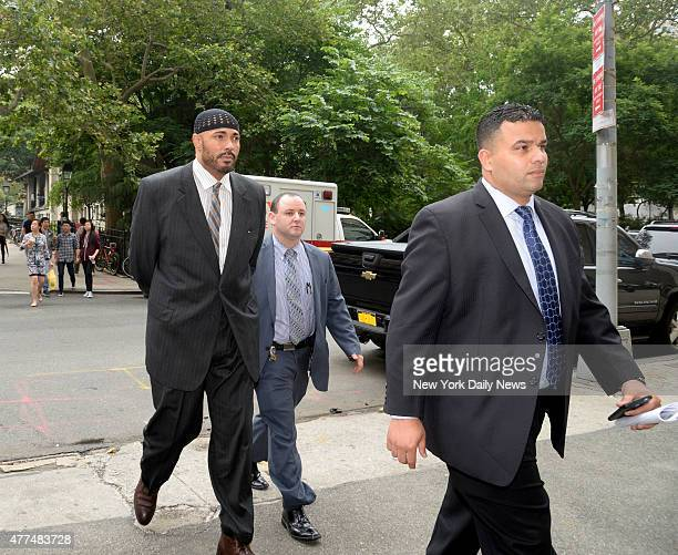 BaynaLehkiem ElAmin is walked into Manhattan Central Booking on Tuesday June 16 2015 ElAmin was arrested for allegedly attacking a man at the Dallas...