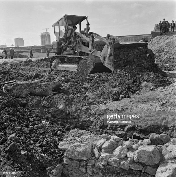 Baynard's Castle near Blackfriars in the City of London is demolished to make way for redevelopment, London, UK, 5th April 1972. The ancient site...