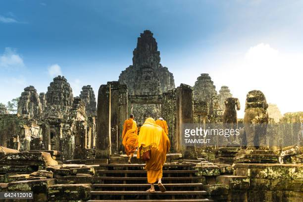 bayon temple, angor wat, cambodia - angkor stock photos and pictures