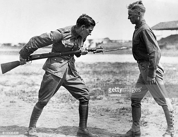 Bayonet fighting instruction by a British Seargent Major during training camp activities Camp Dick Texas ca 191718 | Location Camp Dick Texas USA