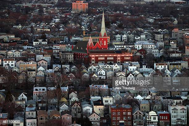 Bayonne New Jersey photographed from above on December 30 2014 in Bayonne New Jersey