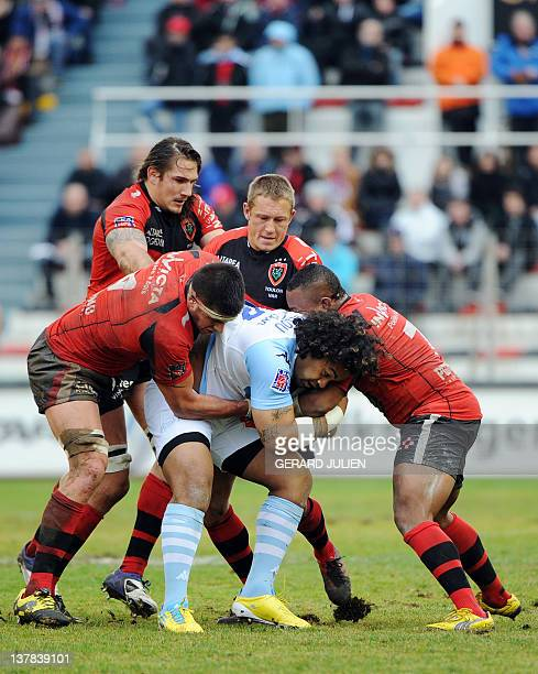 Bayonne New Zealand flanker Sione Lauaki vies with Toulon's players during the French Top 14 rugby union match RC Toulon vs Bayonne at the Mayol...